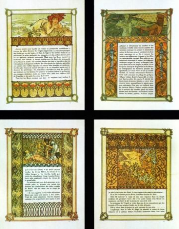 Art Deco Poster of Four different Pictures by Mucha